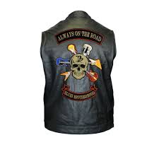 Blues Brotherhood Back Patch Motorcycle Club Leather Vest Men
