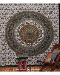 green indian elephant tapestry mandala wall hanging home decor