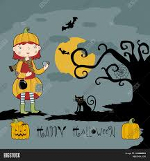 halloween kids cartoons halloween vector illustration little in halloween costume