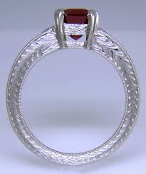 custom ring engraving ruby and diamond engagement ring bijoux extraordinaire