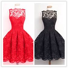 little cute pretty lace short prom dresses a line black lace