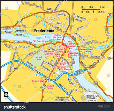 New Brunswick Canada Map Detailed by Fredericton New Brunswick Area Map Stock Vector 155943692