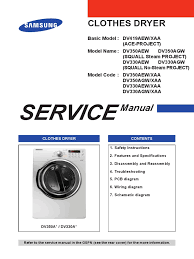 samsung dryer dv350a dv330a service manual clothes dryer ac