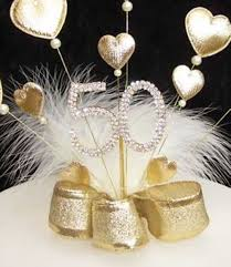 50th wedding anniversary party favors gold padded heart and diamante 50th birthday cake topper golden