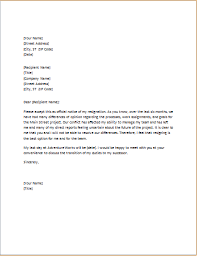 letter of resignation due to conflict with boss word u0026 excel