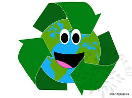 planet earth with recycle symbol coloring page