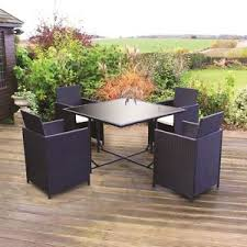 black rattan effect 5 piece cube dining garden furniture patio table