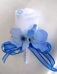 Royal Blue Corsage And Boutonniere Royal Blue White Lily U2013 Roses And Dreams