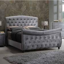 King Sleigh Bed Meridian Furniture Hudson Sleigh K Hudson Grey Velvet King Sleigh