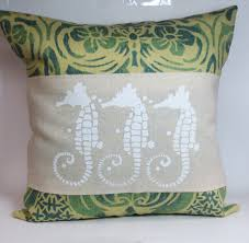 decorative throw pillow cushion cover with screen print white sea