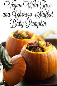 vegan rice and chorizo stuffed baby pumpkin