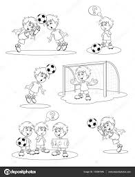 set cartoon soccer players vector illustration coloring book