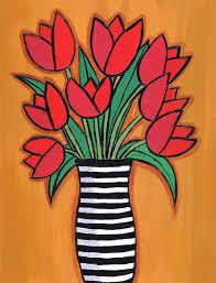 Striped Vase Red Tulips In Striped Vase Stock Illustration Image Of Funky