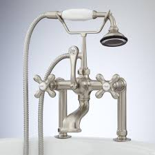 deck mount telephone faucet with cross handles and deck couplers