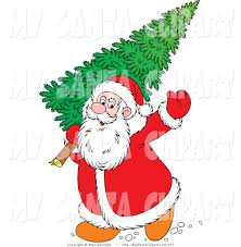 santa and christmas tree clipart clipartxtras
