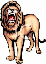 colorful cartoon roaring lion royalty free clipart picture