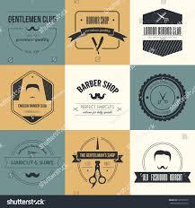 perfect set barber haircut logos mens stock vector 220578109