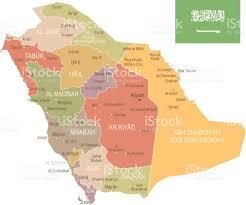 Mecca On Map Saudi Arabia Vintage Map And Flag Illustration Stock Vector Art