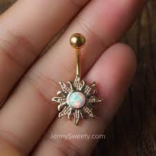 opal sun belly button ring belly button piercing belly rings navel