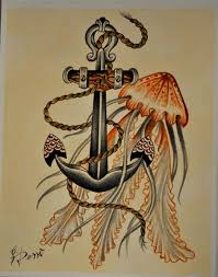 traditional colored jellyfish and its huge iron anchor tattoo