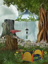 fairy bed fairy bed in the forest with mushroom stock photo picture and