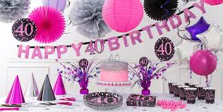 40th Bday Decorations Pink Sparkling Celebration 40th Birthday Party Supplies Party City