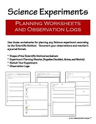 science experiment planning and observation worksheets by learning