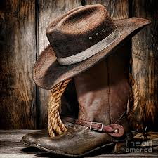 vintage cowboy boots and hat photograph by american west decor by