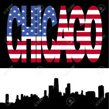 Chicagos Flag Chicago Skyline With Chicago Flag Text Illustration Stock Photo
