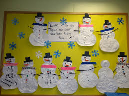 cute bulletin board made with snowmen the children created using