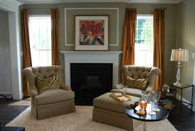 Painted Living Room Furniture by Orange Painted Living Room Design With Brown Microfiber Love Seat