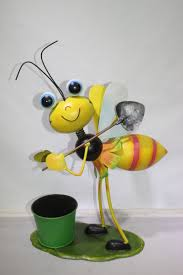 metal ornament bee flower pot flower planter garden ornament view