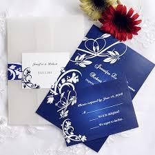 wedding invitations royal blue royal blue floral design pocket wedding invitations iwgy034