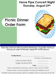 picnic dinner order form due wednesday august 28th at 8 30 a m