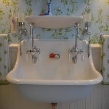 bathrooms design double faucet trough sink bathroom ideas