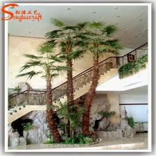 high quality artificial plastic palm trees leaves indoor