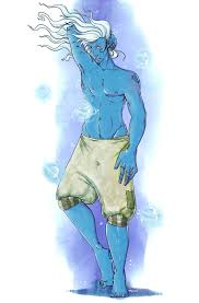 blue wizard air genasi djinni blue wizard pinterest