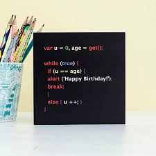 geek birthday card javascript birthday card computer