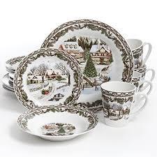 gibson home toile 16pc dinnerware set festive
