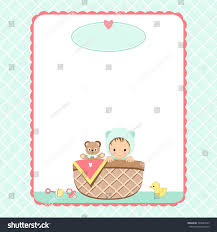 baby shower invitation background baby basket stock vector