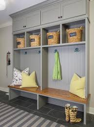 gray mudroom lockers with beadboard trim contemporary laundry