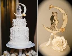 deco wedding cake topper moon outlined in gold glitter