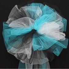 wedding bows turquoise black white tulle wedding pew bows church ceremony aisle