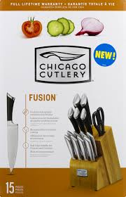 chicago cutlery fusion ii 15 piece soft grip knife set with block