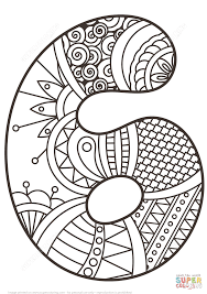 number 6 zentangle coloring page free printable coloring pages