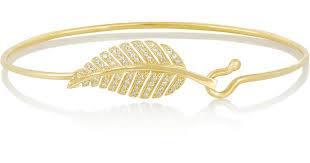 gold leaf bracelet images Lyst jennifer meyer 18 karat gold diamond leaf bracelet in metallic jpeg