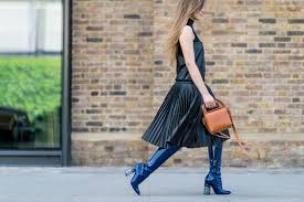 mod boot patent leather boots pleats lfw street style elle com