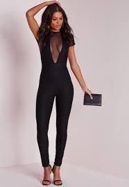 black mesh jumpsuit lyst missguided mesh plunge insert tapered leg jumpsuit black in