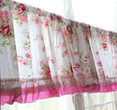 shabby chic rose wildflower curtain valance country ruffled pink