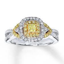 Jared Cushion Cut Engagement Rings Jared Yellow Diamond Ring 5 8 Ct Tw Cushion Cut 14k Two Tone Gold